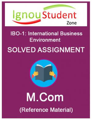 IGNOU IBO 1 Solved assignment (M.Com 1st year)
