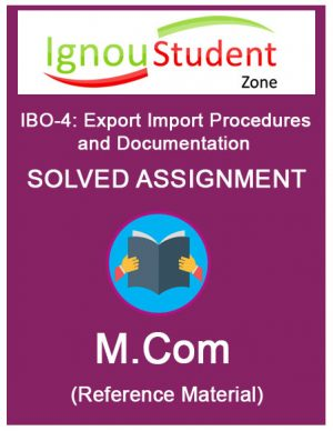 IGNOU IBO 4 Solved Assignment (M.Com 1st year)