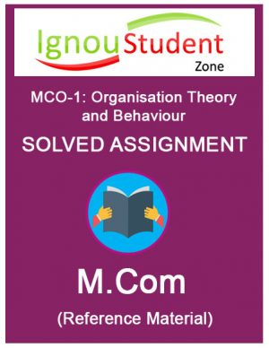 IGNOU MCO 1 Solved Assignment (M.Com 2nd Year)