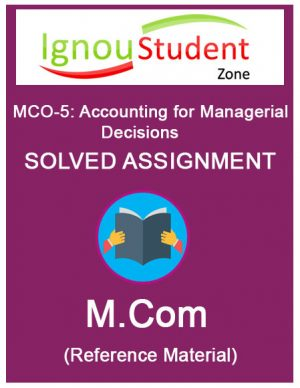 IGNOU MCO 5 Solved Assignment (M.Com 2nd Year)