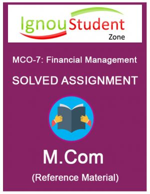 IGNOU MCO 7 Solved assignment (M.Com 2nd Year)